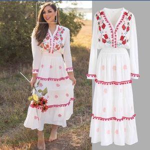 Chicwish Maxi Embroidered Pom Pom Dress